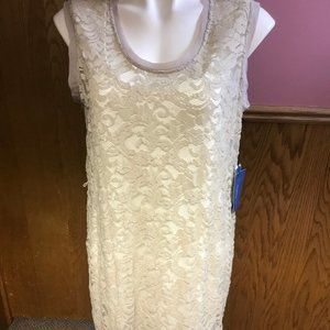 Simply Vera Vera Wang Cream Lace Sleeveless Dress